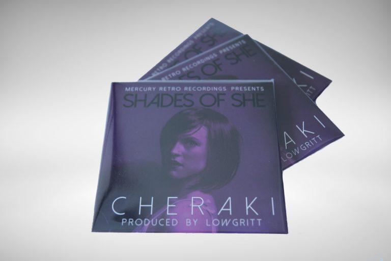 Physical CD of the full length album Shades Of She LP by Cheraki & Lowgritt