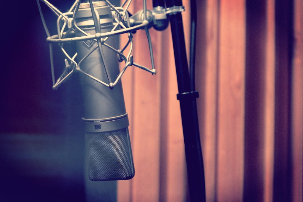 A close up photo of the classic Neumann U87 Condenser Microphone